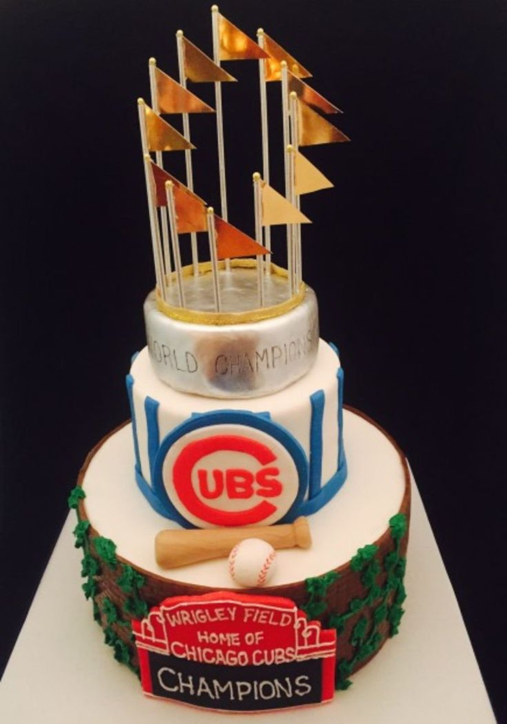 Chicago Cubs Championship Birthday Cake 2 tiered cake with decorative World Series trophy topper, Cubs logo and marque with brick and ivy