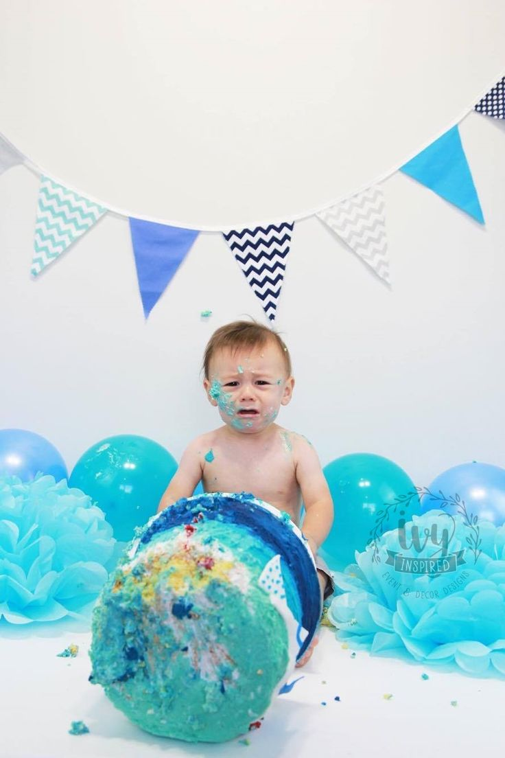 Aqua Blue Cake Smash Photo Shoot.  Buy this bunting from Ivy Inspired, NZ Delivery to Australia & New Zealand.