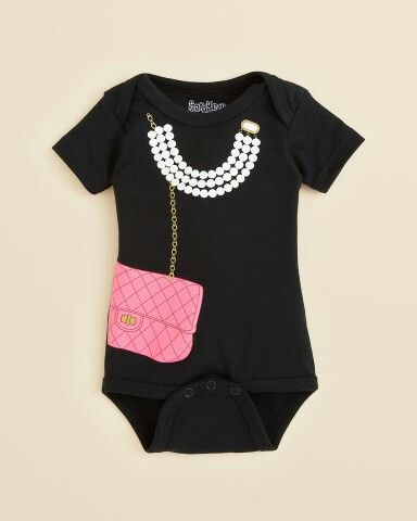 Your little lady-about-town will look adorable in this necklace and purse print footie from Sara Kety. | Cotton | Machine wash | Imported | Fits true to size | Snap closure at the seat | Web ID:701908