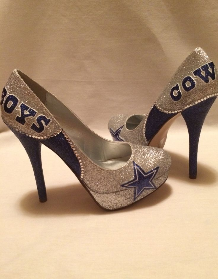 Dallas Cowboys heels rhinestones added by KustomRoyalKicks on Etsy, $150.00