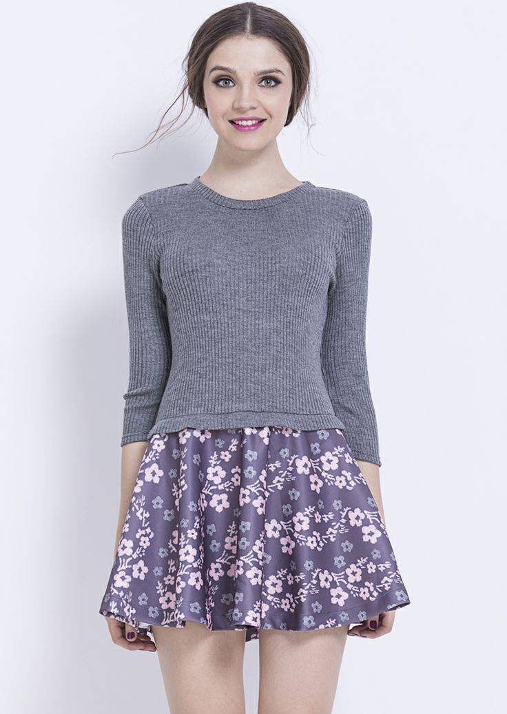 Grey Round Neck Knit Sweater Contrast Floral Dress