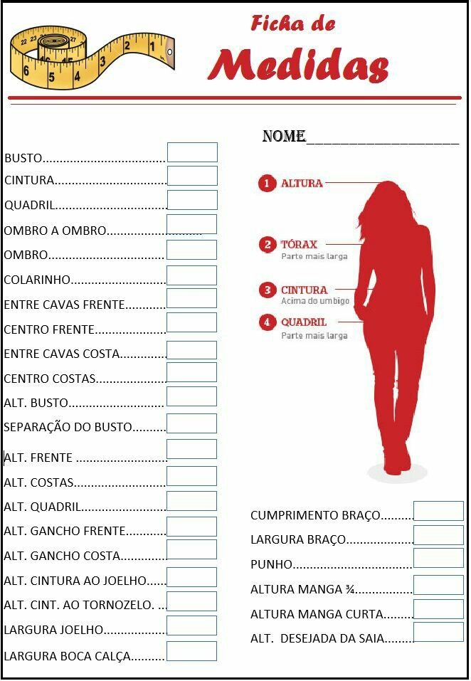 Tabela de medidas corporais