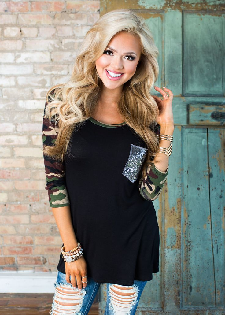Boutique, Online Boutique, Women's Boutique, Modern Vintage Boutique, Top, Camo Top, Sequin Pocket Top, Black Top, Cute, Fashion