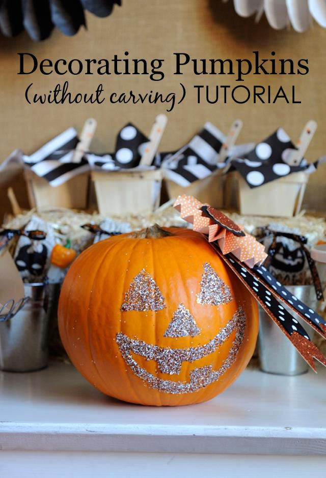 diy glittering pumpkins ideas for halloweencute - Halloween Pumpkin Designs Without Carving