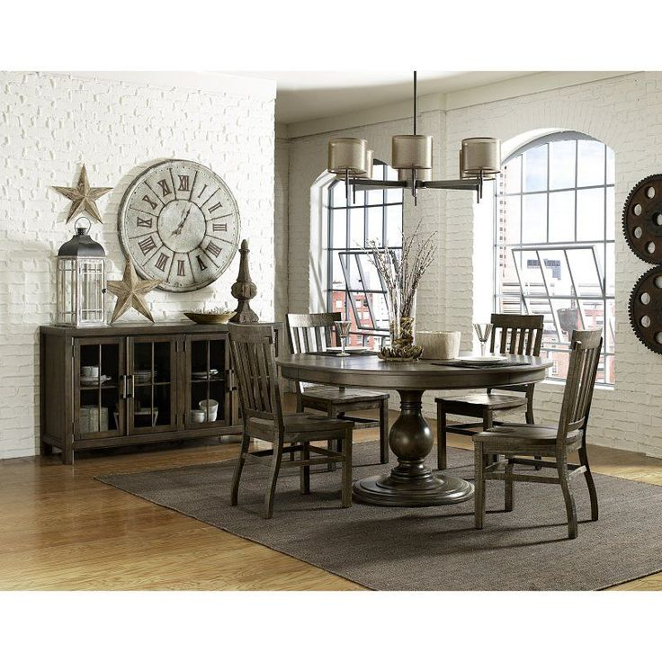 Magnussen Karlin Wood 5 Piece Round Dining Table Set   MHF2117