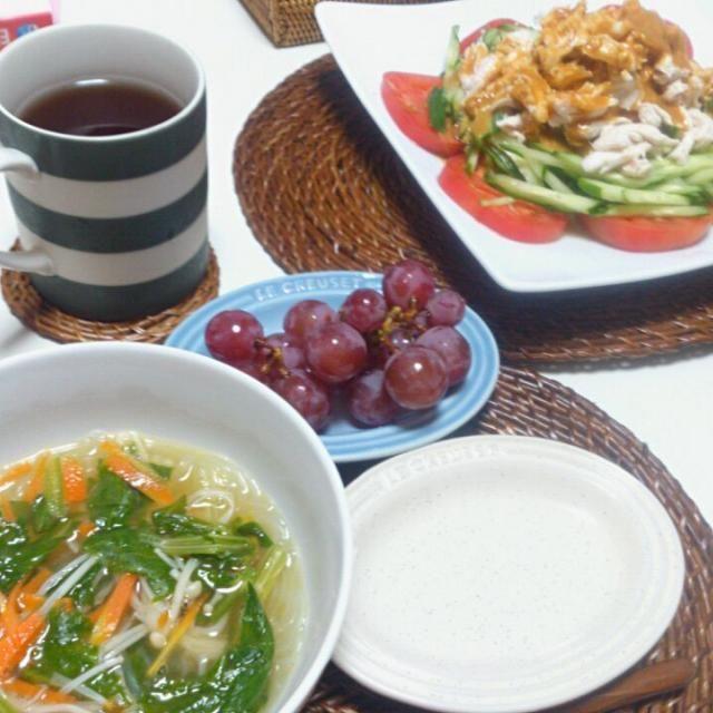 ダイエット中。。。葡萄は先日もぎ取ったもの~~~! - 4件のもぐもぐ - 棒々鶏 鶏の茹で汁で榎セロリ春雨のブイヨンスープ by nyaromechan
