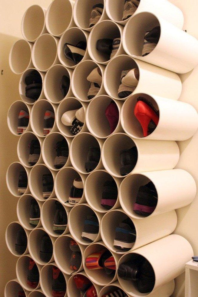 """How to Build a Low-Cost Shoe Rack Using PVC Pipes « MacGyverisms""  Wonder if I could hook these together in a cool pattern and make over the door storage for the backdoor? Thought!: Cut the end slanted so it's angled, could hold more if it's partially upright."