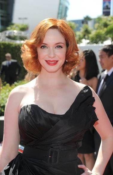 Christina Hendricks shiny Short Curls ~ http://www.haircutsforwomen.biz/beautiful-short-haircuts-for-dating/