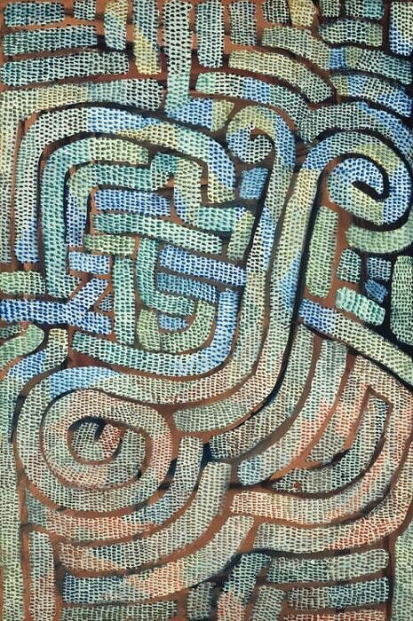 """""""Mosaic-Like,"""" 1932, Paul Klee. Gouache on tan wove paper; 594 x 399 mm. Art Institute of Chicago, Illinois."""
