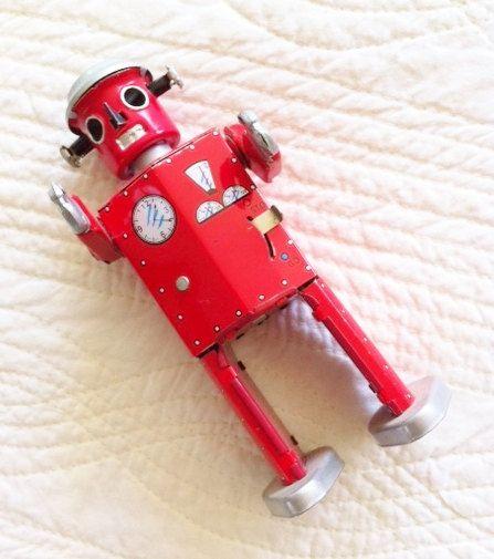 Vintage Mid-Century Crimson Red Wind-Up Metal Robot, Vintage Toys, Olives and Doves by OlivesandDoves on Etsy