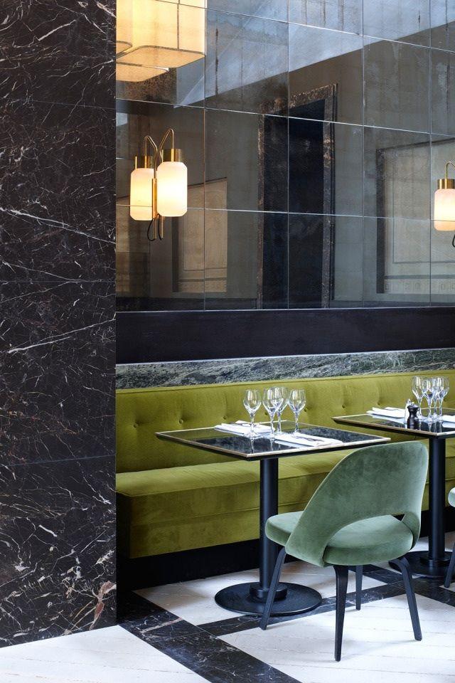 "Restaurant Monsieur Bleu @Palais de Tokyo / Paris - Designed by Joseph Dirand. In front, Eero Saarinen ""Executive""-chair."
