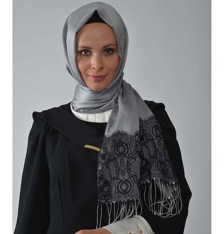 Neva Style Turkish Hijab Lace Fringed Shawl 1164 Silver Grey | Modefa USA