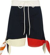 Chloé - Color-block Cotton-twill And Linen-blend Shorts - Navy
