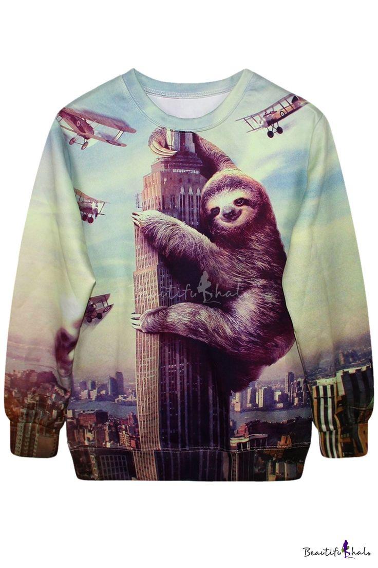 3D Climbing Building Gorilla&Plane Print Sweatshirt