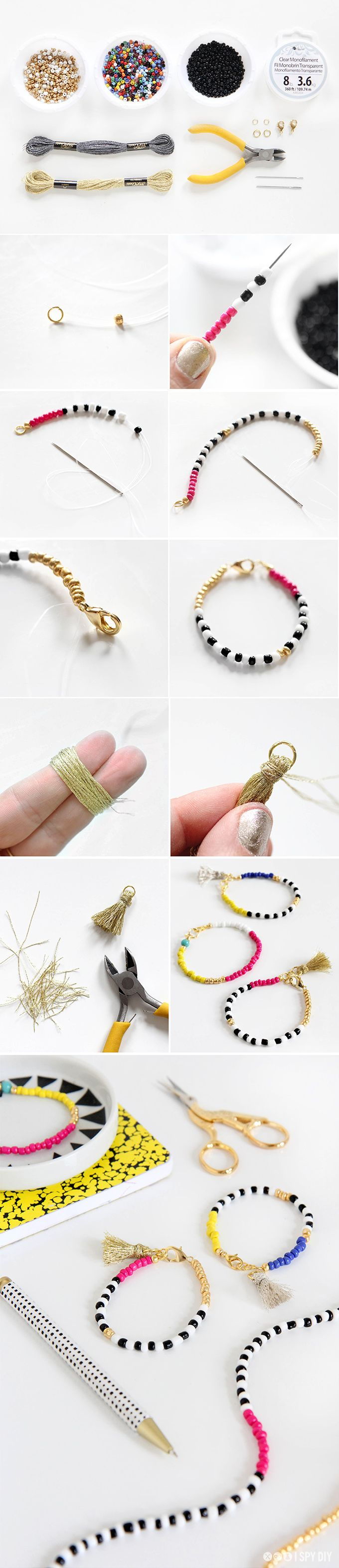 DIY Tassel beaded bracelet