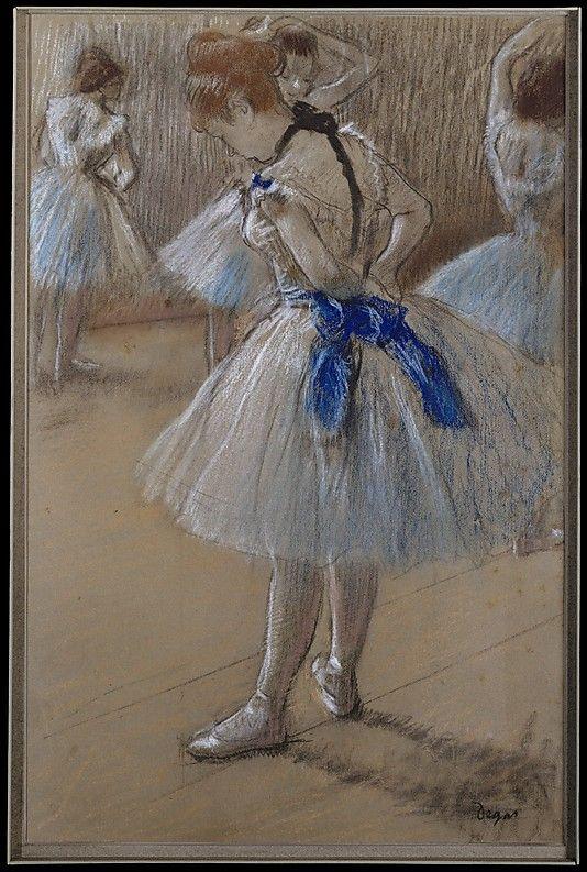 Bailarín  Edgar Degas (Francia, París 1834-1917 París)  Fecha: ca. 1880 Medio: Pastel y carboncillo sobre azul-gris tejió el papel Dimensiones: hoja: 19 1/4 x 12 1/2 pulg (48,9 x 31,8 cm) Clasificación: Dibujos Línea de crédito: El H. Walter y Leonore Annenberg Collection, Regalo de Walter H. Annenberg y Leonore, 2001, legado de Walter H. Annenberg, 2002