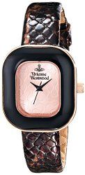 Vivienne Westwood Women's VV112RSBR Tourte Stainless Steel Watch with Brown Leather Band