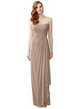 Strapless tan shimmer bridesmaid dress