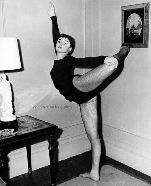 Audrey Hepburn in a ballet pose, early 1950s