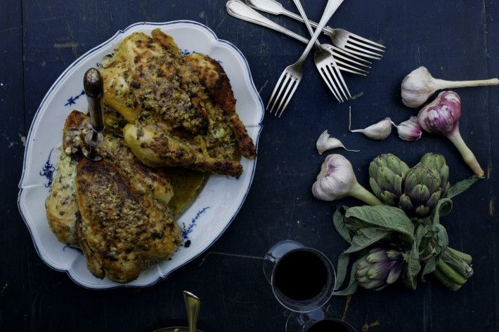 médoc: roast chicken with creme fraiche and mashed potatoes