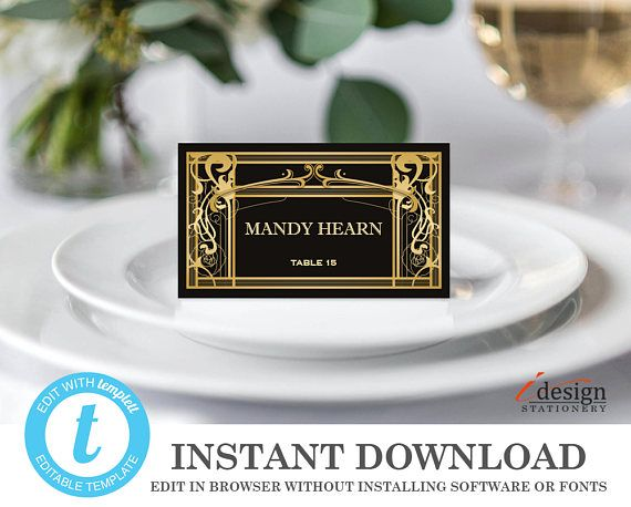 great gatsby place cards printable wedding place card template instant download escort cards editable art deco name cards templett