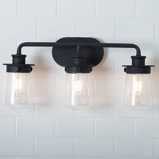 Soft Dome Vanity Light 3 Light Industrial Vanity Light Vanity Lighting Bathroom Lighting Matte black bathroom light fixtures
