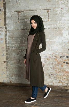 Khaki & Black Two Tone Chiffon Silk Hijab