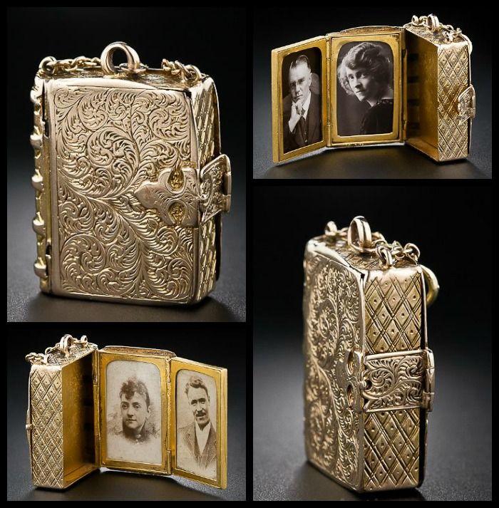 Victorian book locket in 14 karat engraved gold.