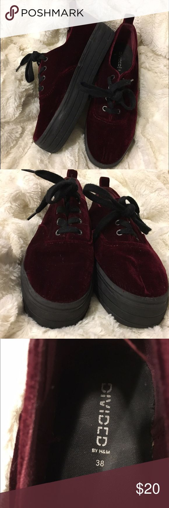 Divided by H&M velvet platform tennis shoes Divided velvet platform sneakers in maroon/oxblood. These are in great condition and are super fun! They're a size 38 and run a little big on me (I'm usually a 7.5). Divided Shoes Platforms