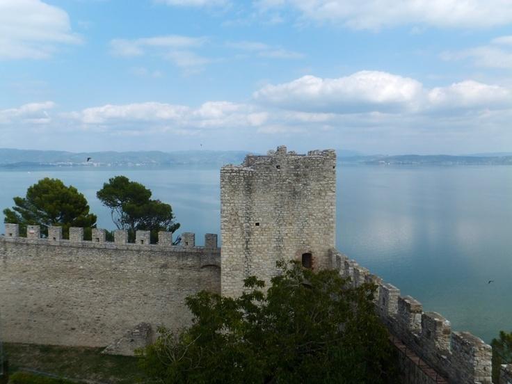 A view across Lake Trasimeno from  Castiglione  del Lago in Umbria.