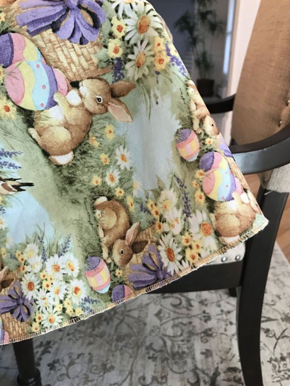 DONT SEE a fabric you like...just ask for help! We can give you 100s of more choices! Easter Tablecloth in any size. Dont see the size you need just ask! NOTE: Side seams are only placed on the sides of the tablecloth. The table top will look like 1 full piece of fabric! ***NOTE: