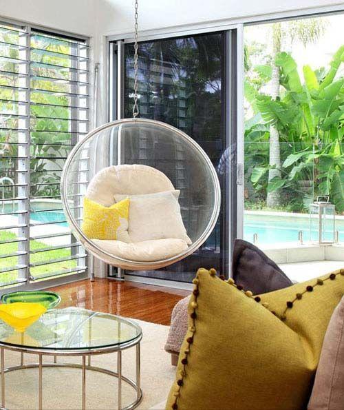 Подвесные кресла — качели в интерьере