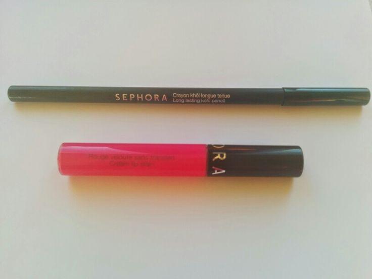 ➡Lapiz long lasting khol 01 de Sephora ➡Rouge velouté sans transfer cream lip stain 08 de Sephora
