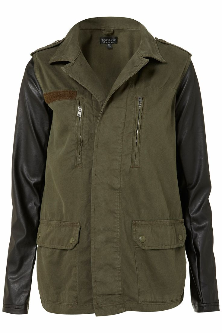 Great coatFashion, Leather Sleeve, Contrast Sleeve, Military Style, Fall Jackets, Leather Jackets, Sleeve Army, Army Jackets, Topshop