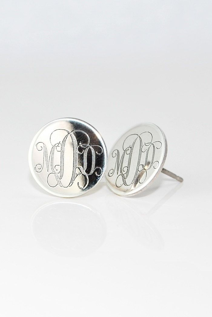3/4 inch Large Monogrammed Earrings Personalized Sterling Silver Initial Stud Posts - Mothers day gift for her - Engraved - Bridesmaids. $38.00, via Etsy.