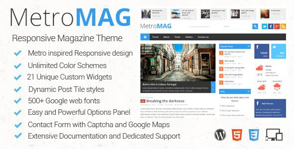 Metro Magazine Responsive WordPress Theme - Blog / Magazine WordPress