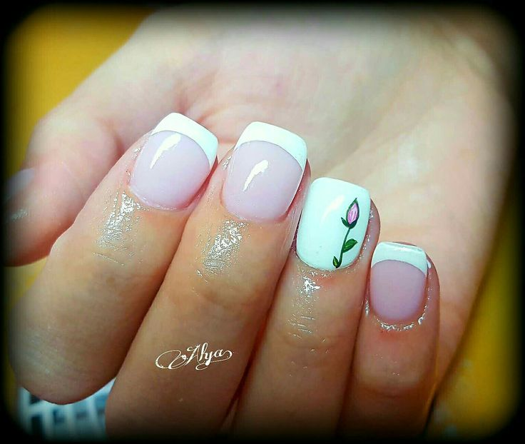 Handpainted rose on French nail art
