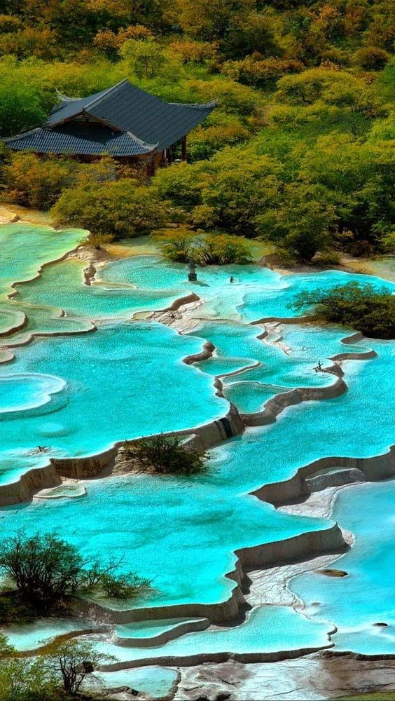 Stunning calcite pools in Huanglong