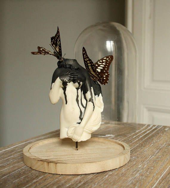 Globe statuette curiosité papillons naturalisés
