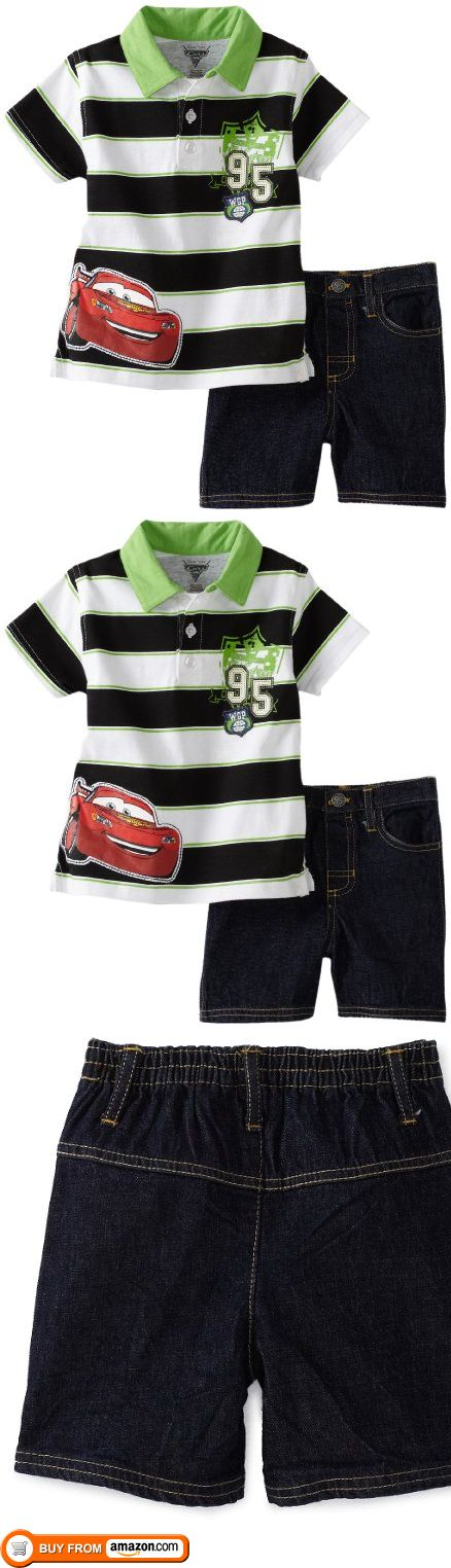 Disney Baby-Boys Infant Stripe Cars Shirt and Denim Short Set, Black, 12 Months, Black and green stripe short sleeve polo shirt with cars screenprint. Blue denim short to match., #Apparel, #Short Sets, http://www.pylinks.com/store/item-B0060OQAW2