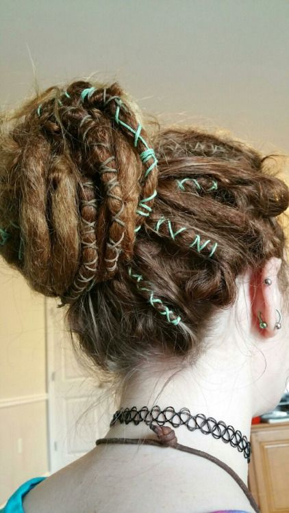 autumn-touched-hair: Did some dread wraps today. I'm loving them. :)