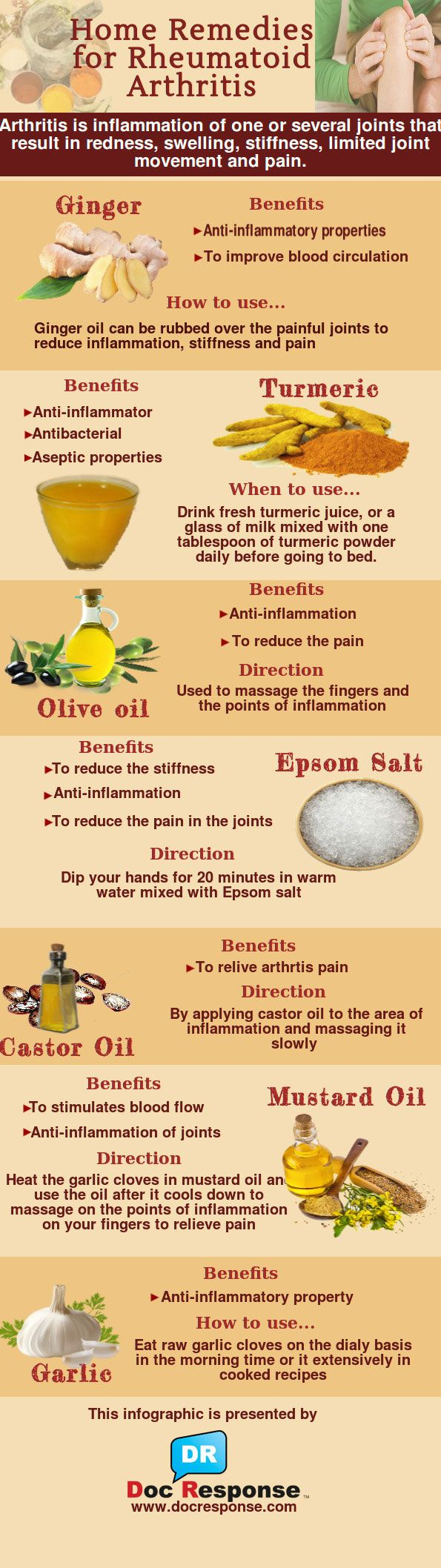 Home Remedies For Rheumatoid Arthritis Infographic