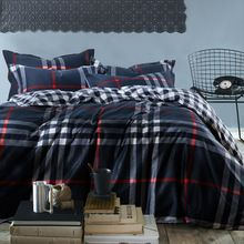 US $90.16 mens Plaid stripe reactive print 4pc bedding set navy 100% Cotton bedclothes king queen size Duvet/quilt covers bed sheet sets. Aliexpress product