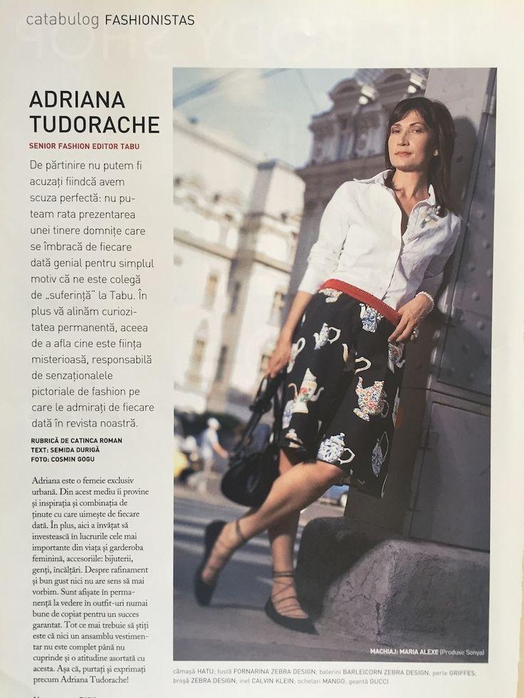 Adriana Tudorache, fashion stylist, fashionista in Tabu magazine, August 2005 issue. Photo: Cosmin Gogu; stylist: Catinca Roman; text: Semida Duriga.