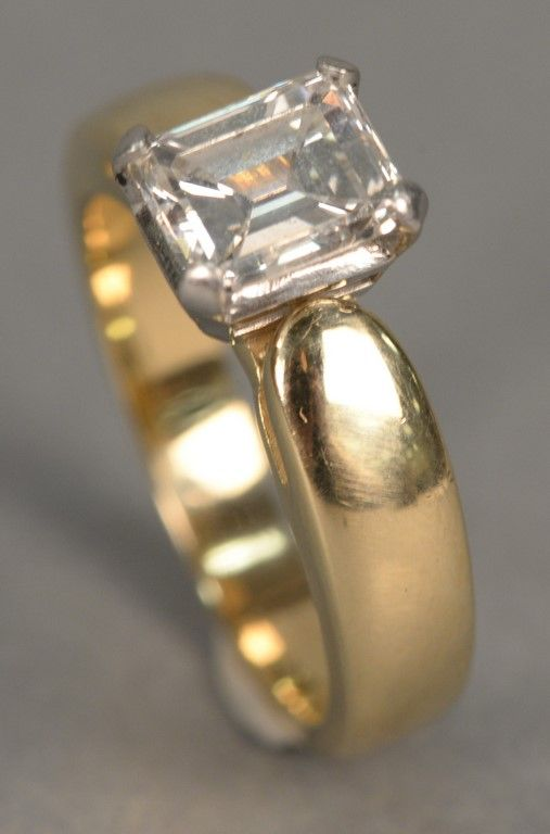14K gold ring with emerald cut diamond, approximately 2 cts ~ Realized Price $7,200.00