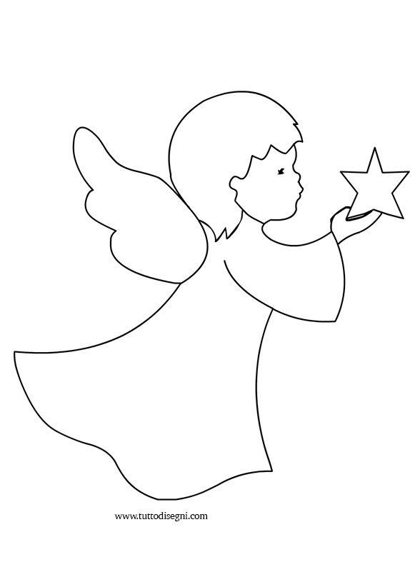 Disegni di angeli - Angelo con stella - TuttoDisegni.com