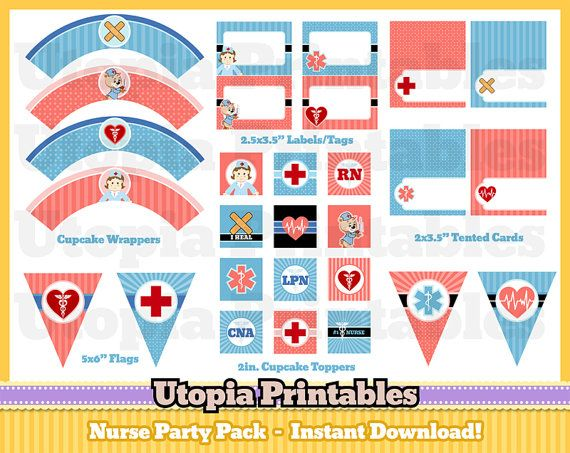 """Nurse Party Printable Party Pack Nurse by UtopiaPrintables on Etsy 