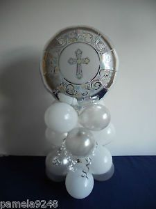 christening+balloon+centerpieces | New Christening Munion Baptism Celebration Balloon Table Decoration