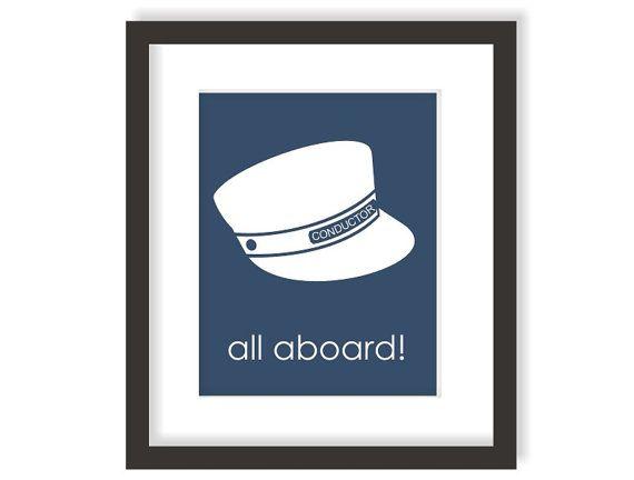 Train Conductor Hat Art Print - Train Nursery - Kids Train Art, Transportation Wall Art, Toddler Wall Decor, Little Boys Wall Art - 8x10