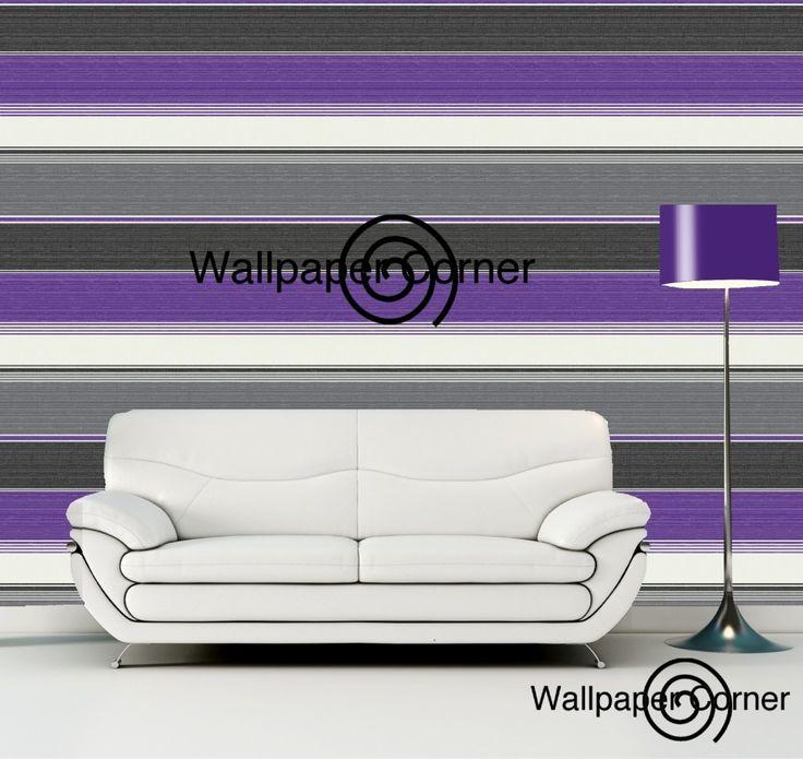 Vymura Synergy Stripe Wallpaper Plum Decorating DIY